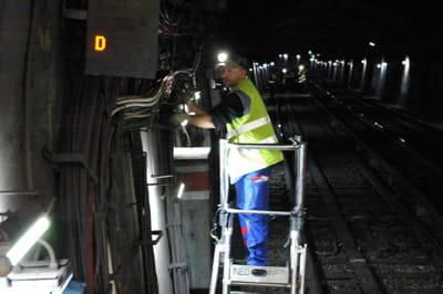 l'installation de câblesa lieu pendant la nuit, lors de la fermeture du
