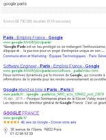 sur la requête 'google paris', la fiche google adresses des nouveaux locaux de