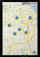 affichage des buzz réalisé dans une zone géographique sur mobile.
