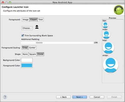 configurer l'icône de l'application.