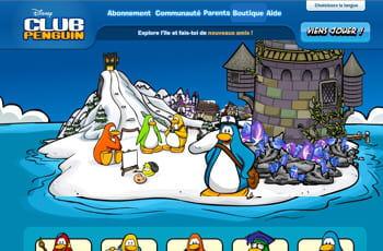la page d'accueil de club penguin
