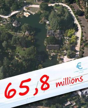 une vue aérienne de la résidence de larry ellison, en californie.