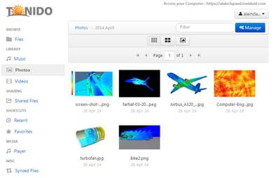 de conception classique, les applications fournies par tonido et le site web