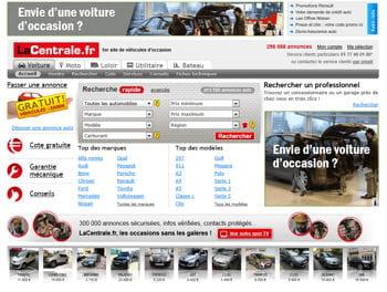 la page d'accueil de lacentrale.fr.