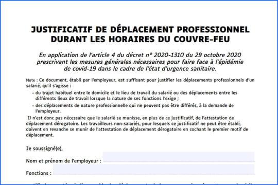 Attestation employeur Covid: téléchargez le justificatif