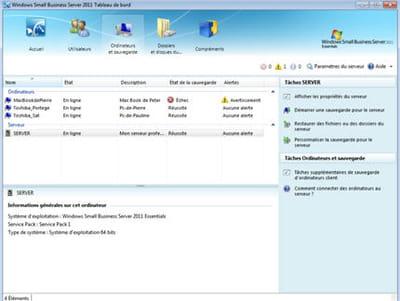 la console de gestion small business server