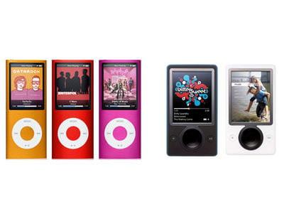 a gauche l'ipod 4g d'apple, à droite le zune de microsoft.