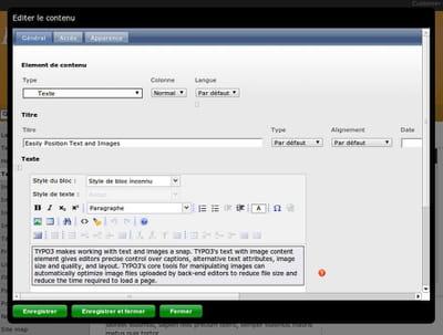interface de gestion back office de typo3.