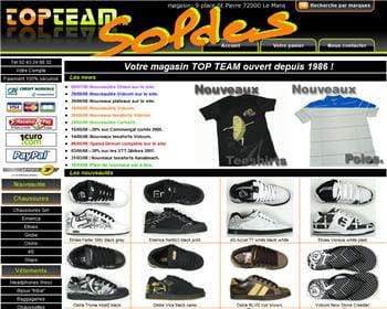 home page du site topteam.fr