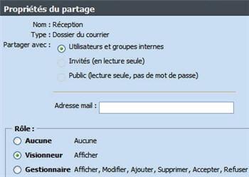 interface de partage