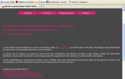 exemple de page de contenu pour la requête 'sticker mural'.