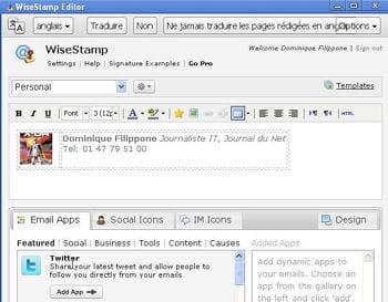 la création wisestamp peut être insérée en signature de tous les messages gmail.