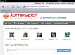 jamespot pro est accessible au travers du navigateur web embarqué dans l'ipad,