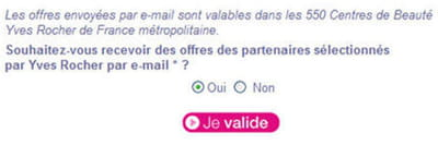 exemple d'inscription à la newsletter yaves rocher.