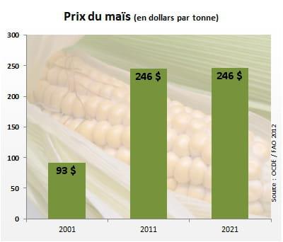 leprix du maïs atteindra 246dollars la tonne en2021.