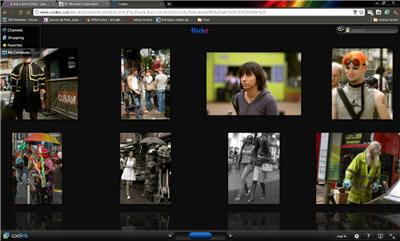 copie d'écran de l'application cooliris sur des images issues de flickr