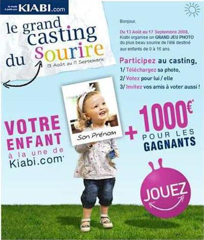 campagne kiabi 'grand casting du sourire'
