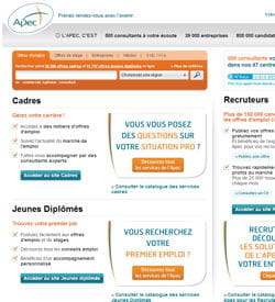 capture d'écran du site de l'apec.