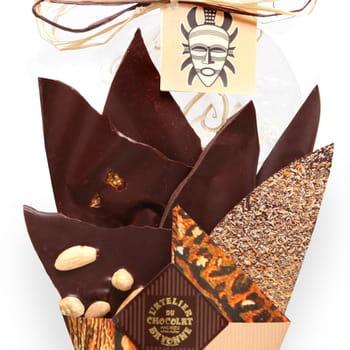 les morceaux de chocolat de ce 'bouquet' de l'atelier du chocolat proviennent