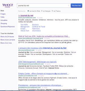 capture d'écran yahoo.fr