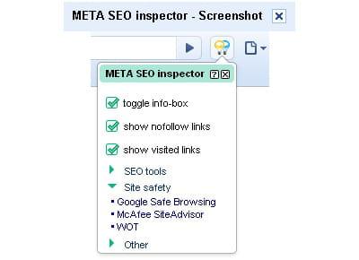 copie d'écran de meta seo inspector