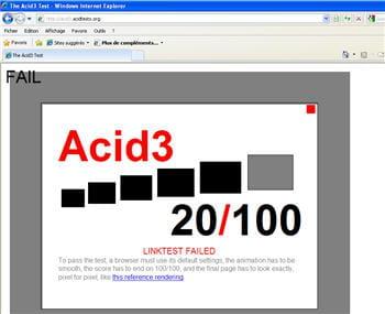 internet explorer 8.0 rate complètement l'acid3 test.