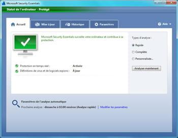 ecran principal de l'antivirus security essentials de microsoft