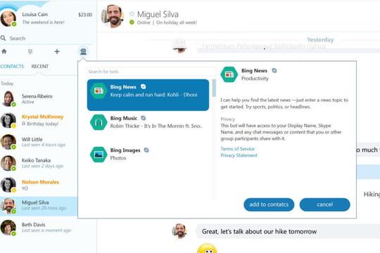 Les bots arrivent dans Skype