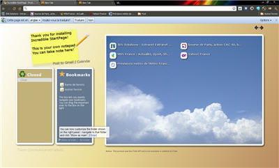 capture d'écran de l'extension incredible start page pour chrome