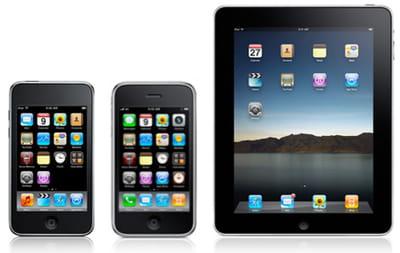 l'ipod touch, l'iphone et l'ipad n'offrent pas les mêmes caractéristiques