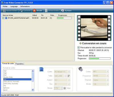 free video converter, très simple d'utilisation