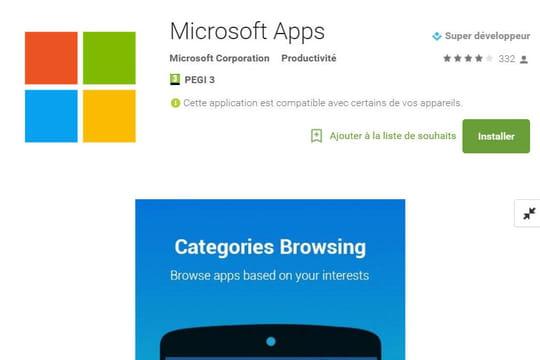 Android : une nouvelle boutique d'apps Microsoft dans le Play Store