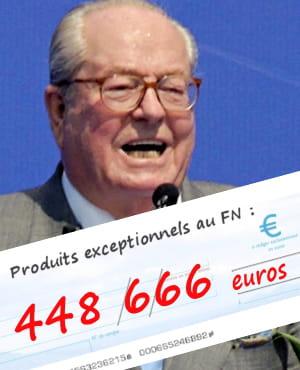 le front national a bénéficié de 44866euros de 'produits exceptionnels' en