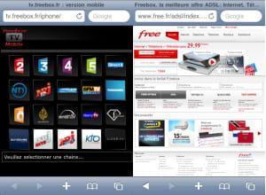 le site mobile tv.freebox.fr et la page d'accueil du portail de free sur iphone