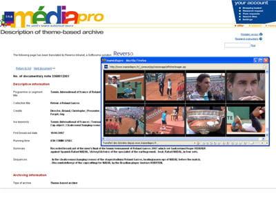 une fiche descriptive traduite en anglaisaccompagnant un contenu vidéo.