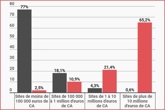 Répartition des sites marchands français selon leur chiffre d'affaires