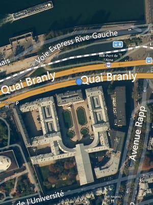une vue aérienne du palais de l'alma,situé dans le 7earrondissement de