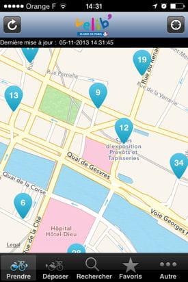 localisation des points d'intérêts sur l'application vélib.