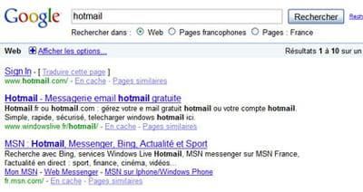 résultats de google pour la requête 'hotmail'