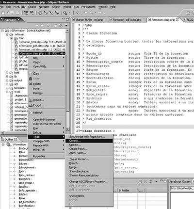 figure 28-13 : exemple d'utilisation d'un outil de gestion de versions dans