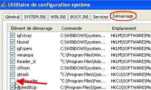 le menu utilitaires de configuration système sous windows xp.