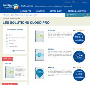 portail de bouygues telecom solutions cloud pro.