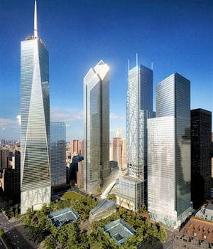sur les cinq nouvelles tours prévues au world trade center, seules deux sont en