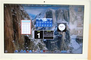 l'affichage du calendrier, de l'heure, de la calculatrice et de la météo peut
