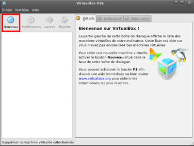 écran principal virtualbox