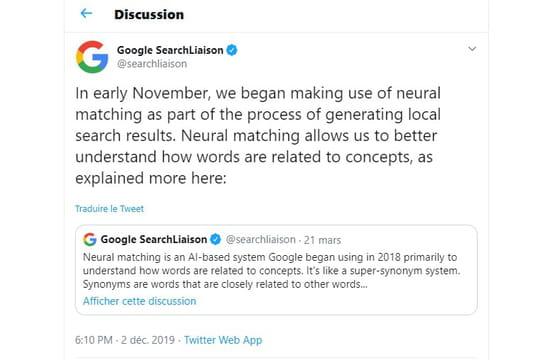 Algorithme Google: la recherche locale roule à l'IA ... depuis novembre