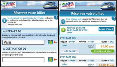 captures d'écran du site mobile voyages-sncf.mobi.