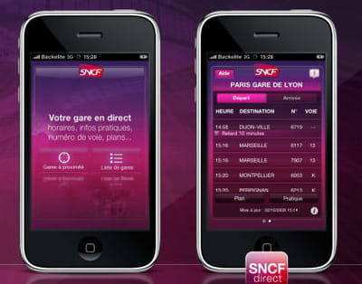 capture d'écran de l'application iphone de la sncf lancée en décembre 2009.