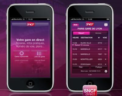 capture d'écran de l'application iphone de la sncf lancée en décembre 2009.