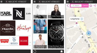 captures d'écran de l'application mobile de regent street, propriété du crown